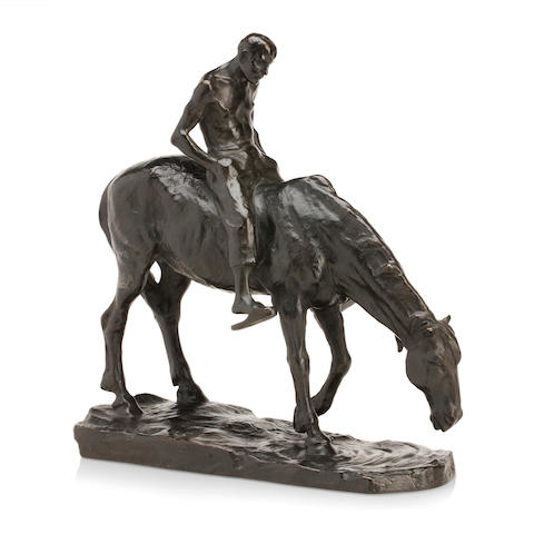 H Muller An early 20th century bronze of horse and rider