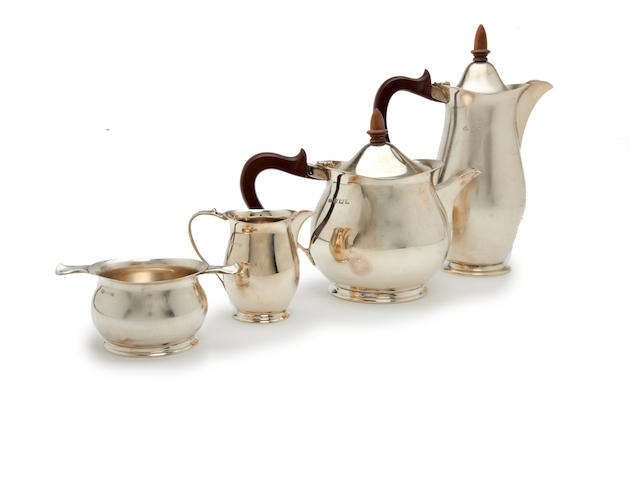 A silver matched four piece silver tea set By Elkington & Co., and Adie Brothers, Birmingham 1969 and 1963,  (4)
