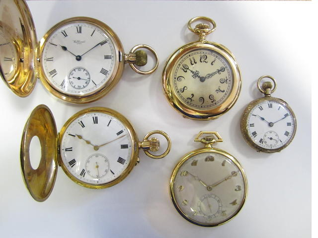 A group of 5 gold keyless wind pocket watches