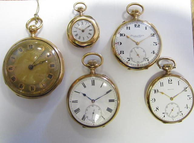A lot of five open face pocket watches