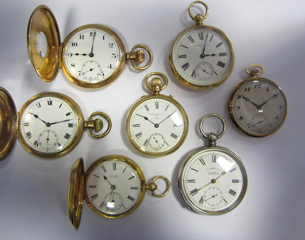 A lot of seven pocket watches