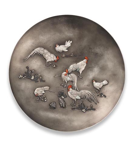 An inlaid silver dish By Shojoken Katsuyuki, Meiji Period