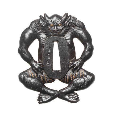 A rare iron figural tsuba By Hata Nobuyoshi (1807-1878), 19th century