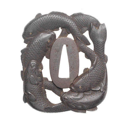 An iron Mito tsuba Attributed to Ichiryu Tomoyoshi, dated 1825
