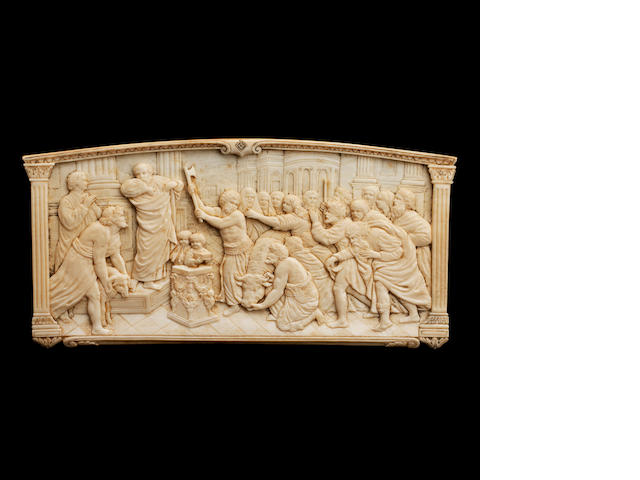 A French 19th century carved ivory plaque