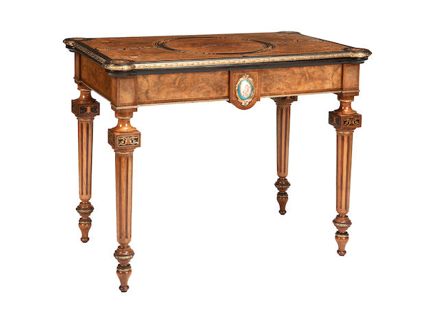 A fine pair of Victorian walnut, inlaid and gilt-metal mounted card tables third quarter 19th century