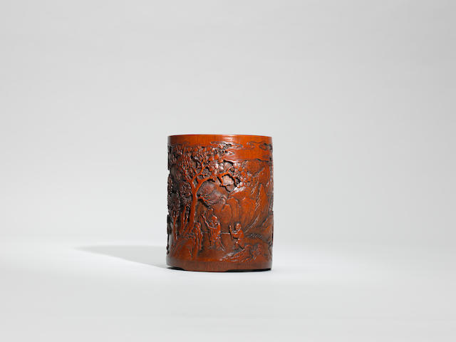 A bamboo 'figures in landscape' brushpot Mid Qing dynasty, Shi Xian mark