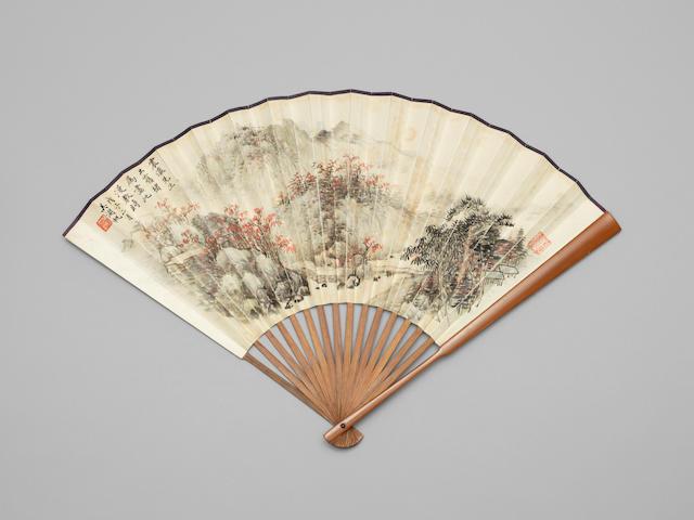 A bamboo 'autumn landscape' fan  Wu Hufan