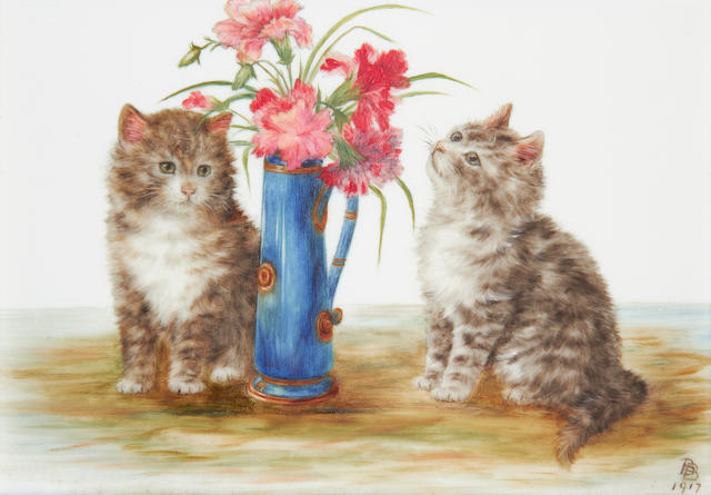 Bessie Bamber (British, active circa 1900-1924) Kittens with flower vase; Kittens with balls of thread, a pair (2)