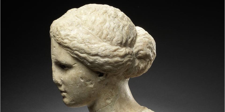 A Greek marble bust of a goddess