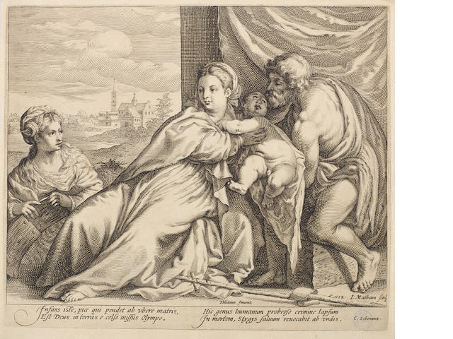 A Small Collection of Old Master Prints Jacob Matham after Titian 'Virgin and Child with St John and St Catherine, 1594 (B20), Jacob Matham after Abraham Bloemart 'Tamar dressed as a Courtesan' (B64), Adriaen Collaert after Stradanus 'Staphae', plate 9 from 'Nova Reperta', Pierre Nolin after Henry Cheneau 'Empire de la Mort', 1673, Agostino Veneziano after Marcantonio 'St Jerome and the small lion', an engraving after Hendrick Goltzius 'Hercules and Deianeira', Henry Bonnart landscape with river and castle, all on laid paper, 258 x 348mm (10 1/8 x 13 5/8in)(SH and smaller)(7 unframed)