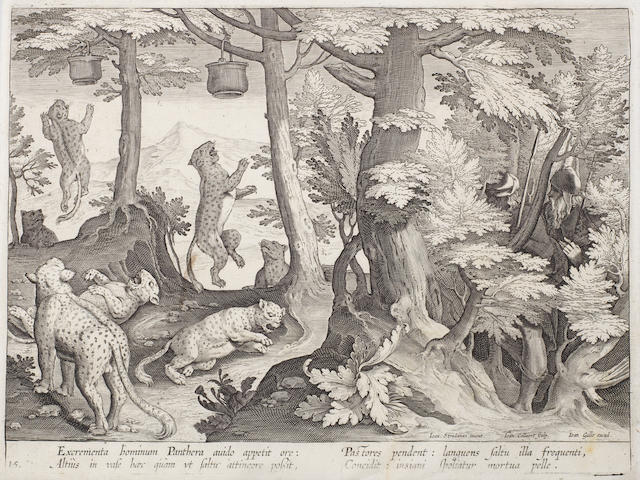 After Stradanus (Italian, 1523-1605) Hunting leopards Engraving by Jan Collaert, plate 92, 205 x 260mm (8 1/8 x 120 1/4in)(PL), Diving for Coral, by Cornelius Galle, plate 15, 198 x 265mm (7 7/8 x 10 1/2in)(PL), both from the series Venationes Ferarum Avium Piscium (Visscher edition), together with an etching by Wendel Dietterlin, 'Memorial with a statue of a mounted knight', 254 x 185mm (10 x 7 1/4)(PL), all on laid 3 unframed