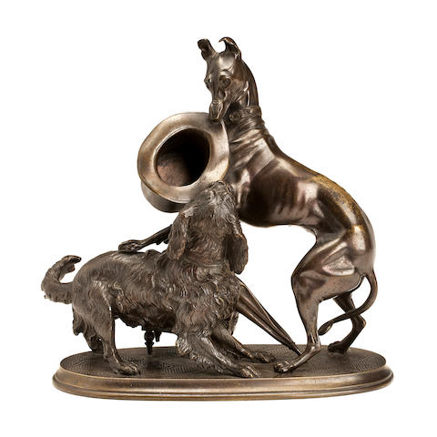 Attributed to Arthur Waagen (French/Germany, 1869-1910)A bronze of a whippet and spaniel