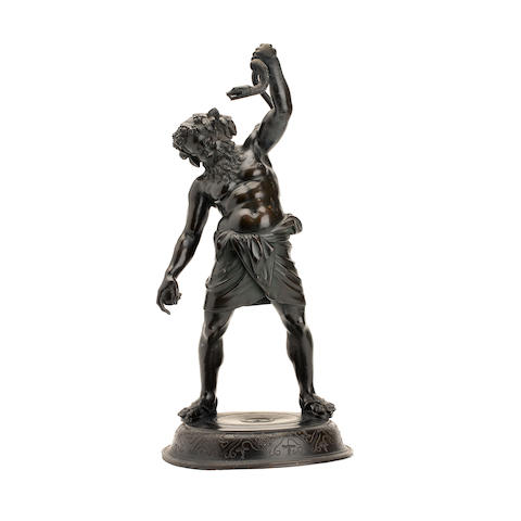 A 20th century patinated bronze figure of Silenusafter the antique
