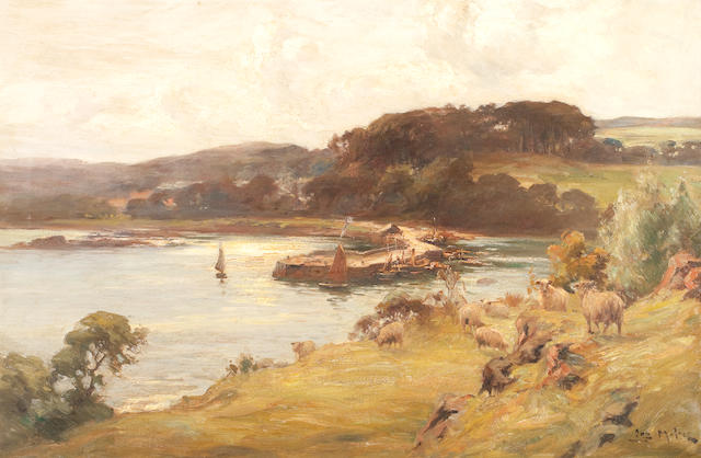 Joseph Milne (British, 1857-1911) Sheep by a harbour