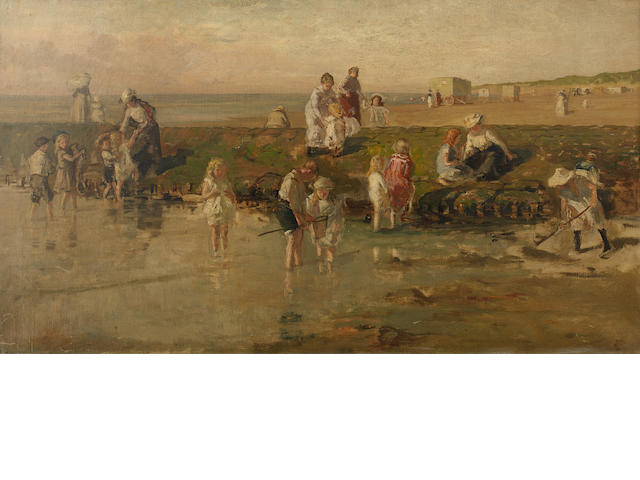 Ja de Jonge, 'figures on a beach' oil on canvas