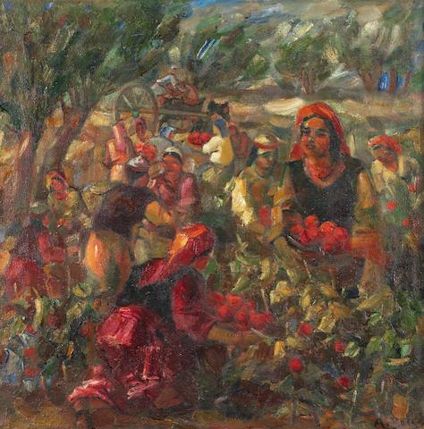 Aleksandr Nikolaevich Volkov (Russian, 1886-1957) 'Tomato Harvest' ['Сбор помидоров'], 1944
