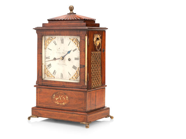 A mid 19th century walnut bracket clock Engraved 'Will Strange, clock maker, Kingston'