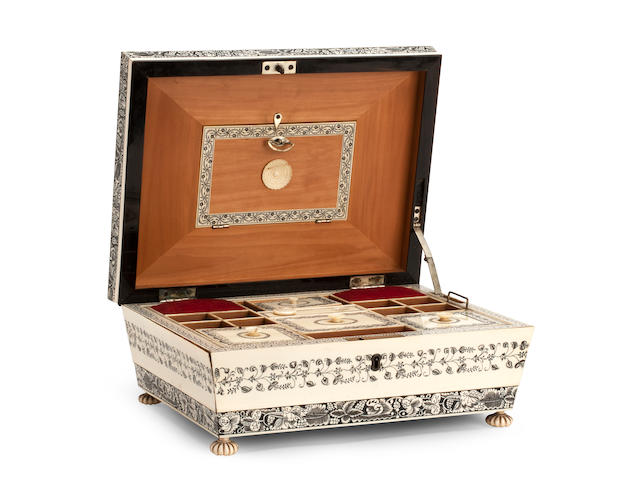 A 19th century Anglo-Indian ivory and sandalwood work boxVizigapatam