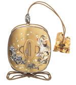 A gold lacquer Shibayama-style sheath inro By Nemoto, Meiji Period