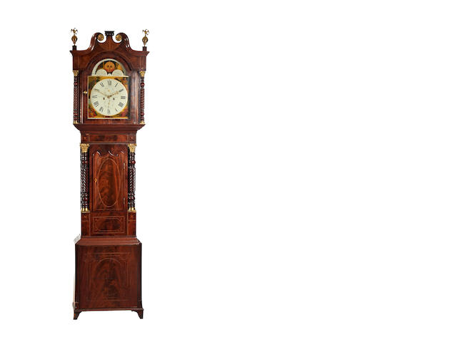 An eight day painted moon-dial longcase clock, I D Taylor, Liverpool, circa 1820-30
