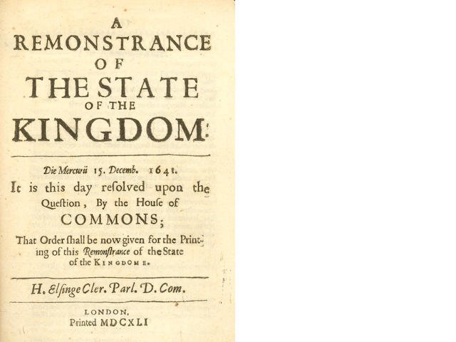 GRAND REMONSTRANCE A Remonstrance of the State of the Kindgom, 1641