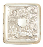 An export white metal cigarette case Late Qing Dynasty