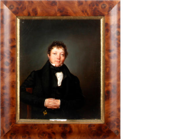 English School, mid 19th Century Portrait of a gentleman, half-length, seated, wearing a black suit
