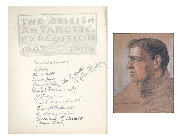 "SHACKLETON (ERNEST HENRY) The Heart of the Antarctic. Being the Story of the British Antarctic Expedition 1907-1909, 3 vol. (including ""The Antarctic Book Winter Quarters 1907-09""), LIMITED TO 300 COPIES, WITH SIGNATURES OF ALL THE SHORE PARTY, PRESENTATION COPY INSCRIBED BY SHACKLETON ""To Major T. Lethaby with kind regards from E.H. Shackleton, Sept. 1918. In remembrance of the first Polar Campaign preparations"" on front free endpaper of volume one"