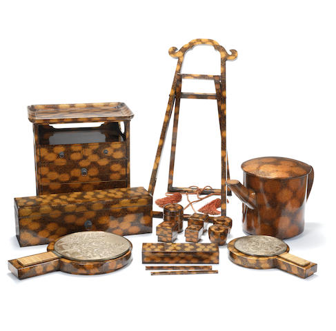 An extensive gold lacquer cosmetic set 19th century