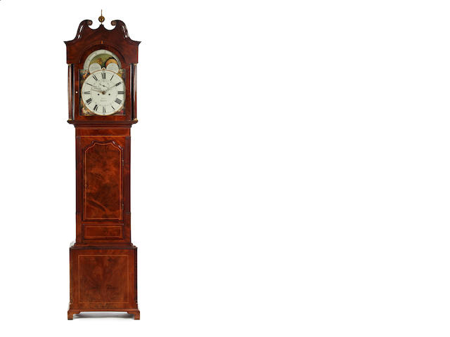 B. Peers Chester - mahogany long case clock, 2 weights, pendulum, key, winder