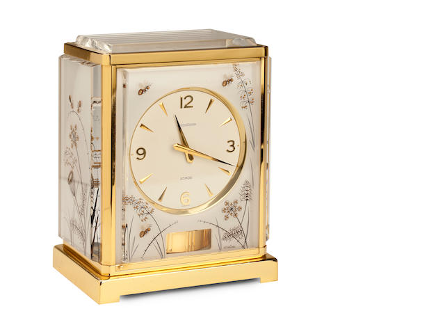 A 20th century 'Marina Bees White' Atmos clock Jaeger Le Coultre, caliber 526-5,