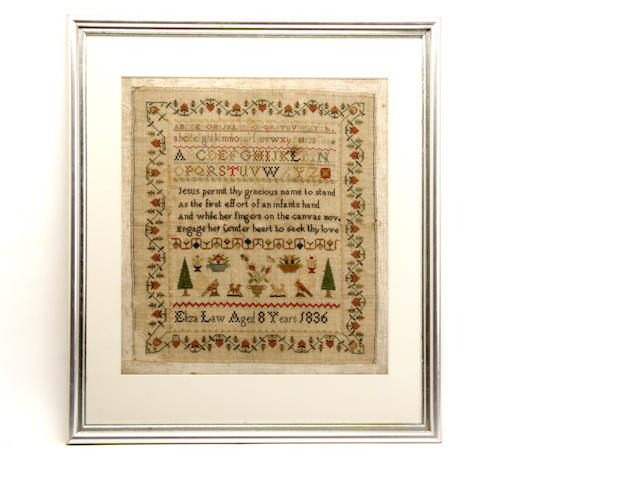 A 19th century stitched samplersby Eliza Law, Aged 8 years 1836