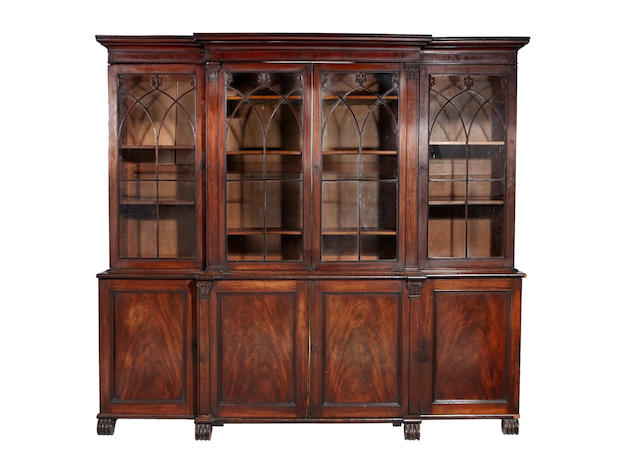 A Regency mahogany breakfront library bookcase