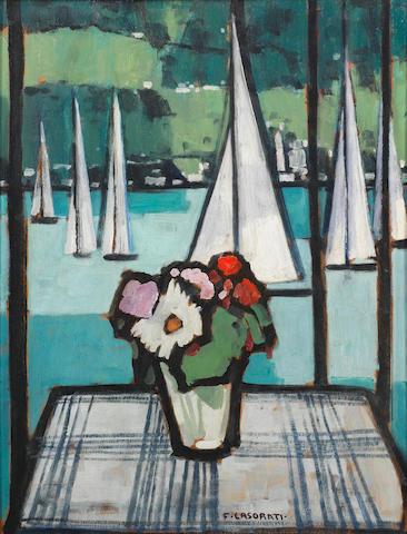 Felice Casorati, Finestra sul lago, framed