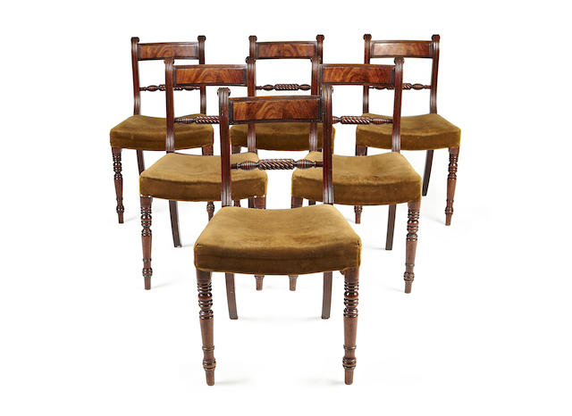 A set of six Regency mahogany dining chairs