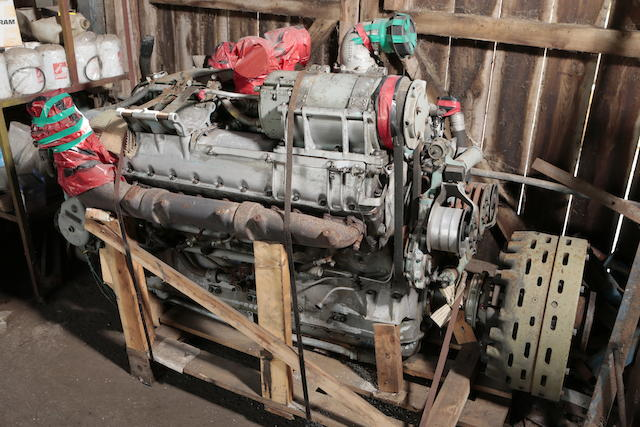 A Rolls-Royce 'Meteor' V-12 engine,