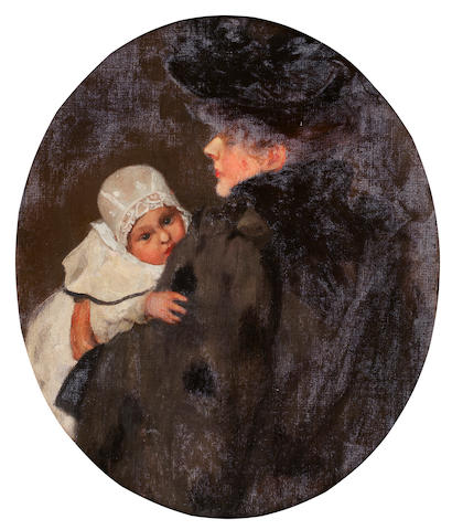 Maurice Greiffenhagen (British, 1862-1931) Portrait of a Mother and Child