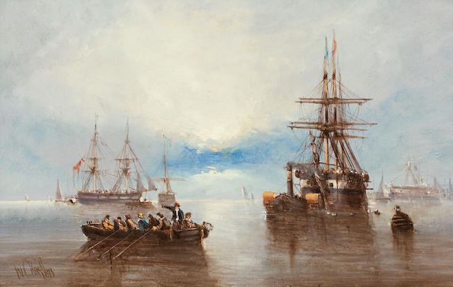 Circle of William Callcott Knell (British, 1830-1876) Paddle tug with three masted Man o'War in tow