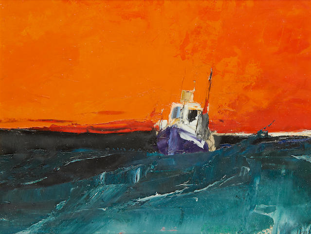 Donald Hamilton Fraser RA (British, 1929-2009) 'Study. Seascape orange sky'