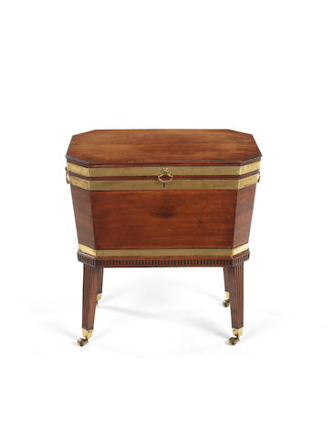 A George III mahogany and brass bound octagonal cellarette
