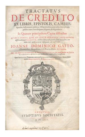 GAITO (JOHANNES DOMINICO) Tractatus de credito, 1669