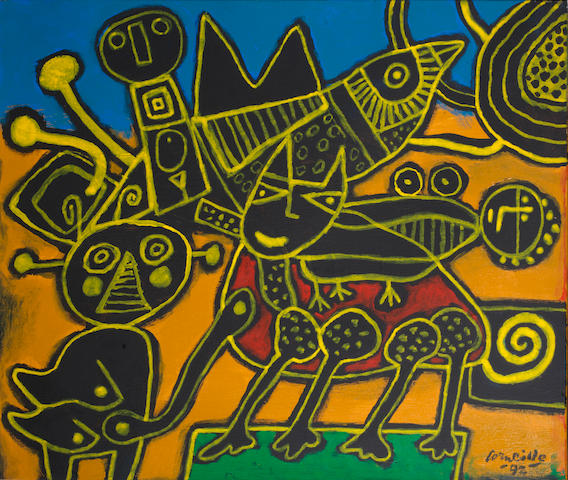 Corneille (Belgian, 1922-2010) Chat rentrant dans la danse 1992  signed and dated 92; signed, titled and dated 92 on the reverse oil on canvas  51 by 61 cm. 20 1/16 by 24 in.