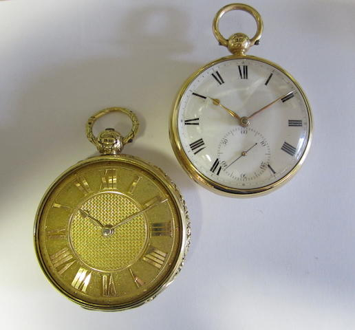 A lot of two 18ct gold open face key wind pocket watches