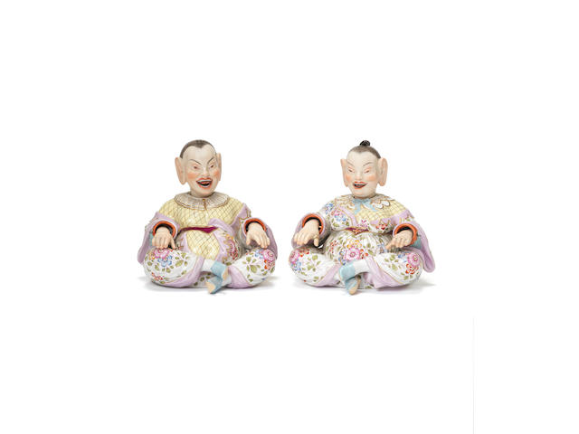 A pair of Meissen nodding pagoda figures, circa 1860-80 (one finger repaired)