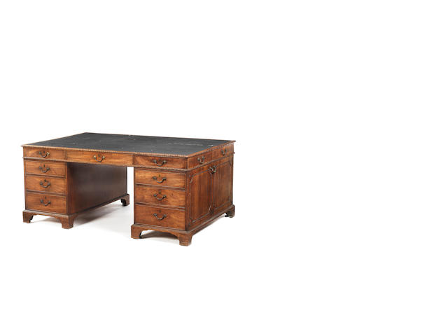 A George II mahogany partners' desk