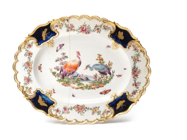 A Chelsea oval dish from the Mecklenburg-Strelitz Service, circa 1764