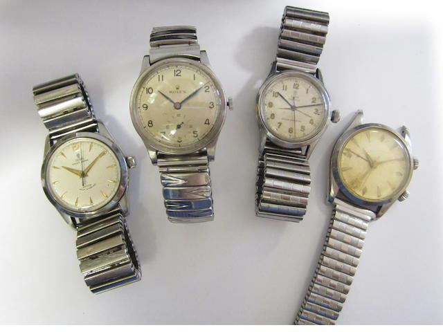 A lot of four stainless steel bracelet watches (AF)