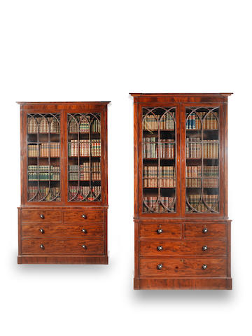 Two matching George IV inverted breakfront mahogany bookcases