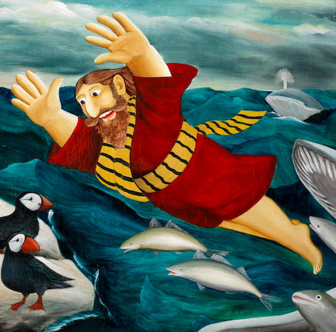 Beryl Cook (British, 1926-2008) Jonah and the Whale  one 59.6 x 60.9 cm. (23 1/3 x 24 in.), the other 61.1 x 62.3 cm. (24 x 24 1/2 in.)
